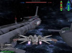 A clone ARC-170 assaults a CIS cruiser