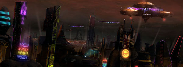 The Nar Shaddaa skyline on a relatively tranquil Star Wars night.