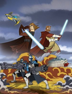 Anakin and Kenobi fighting off the horde