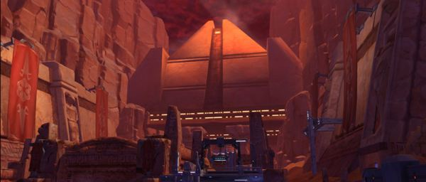 A temple in the familiar desert canyons as seen in The Old Republic