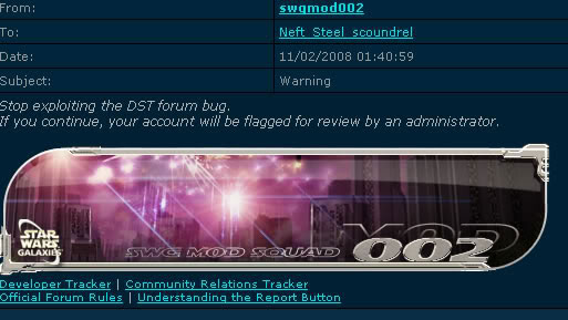 Got a warning for time travelling on the forums. How rude.