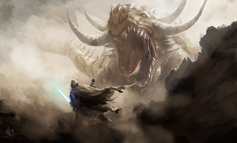 A piece by Redding depicting a Jedi and Krayt Dragon face off.
