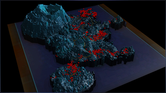 A map of testing deaths on Ord Mantell being used by the developers to rectify any excessively difficult areas.