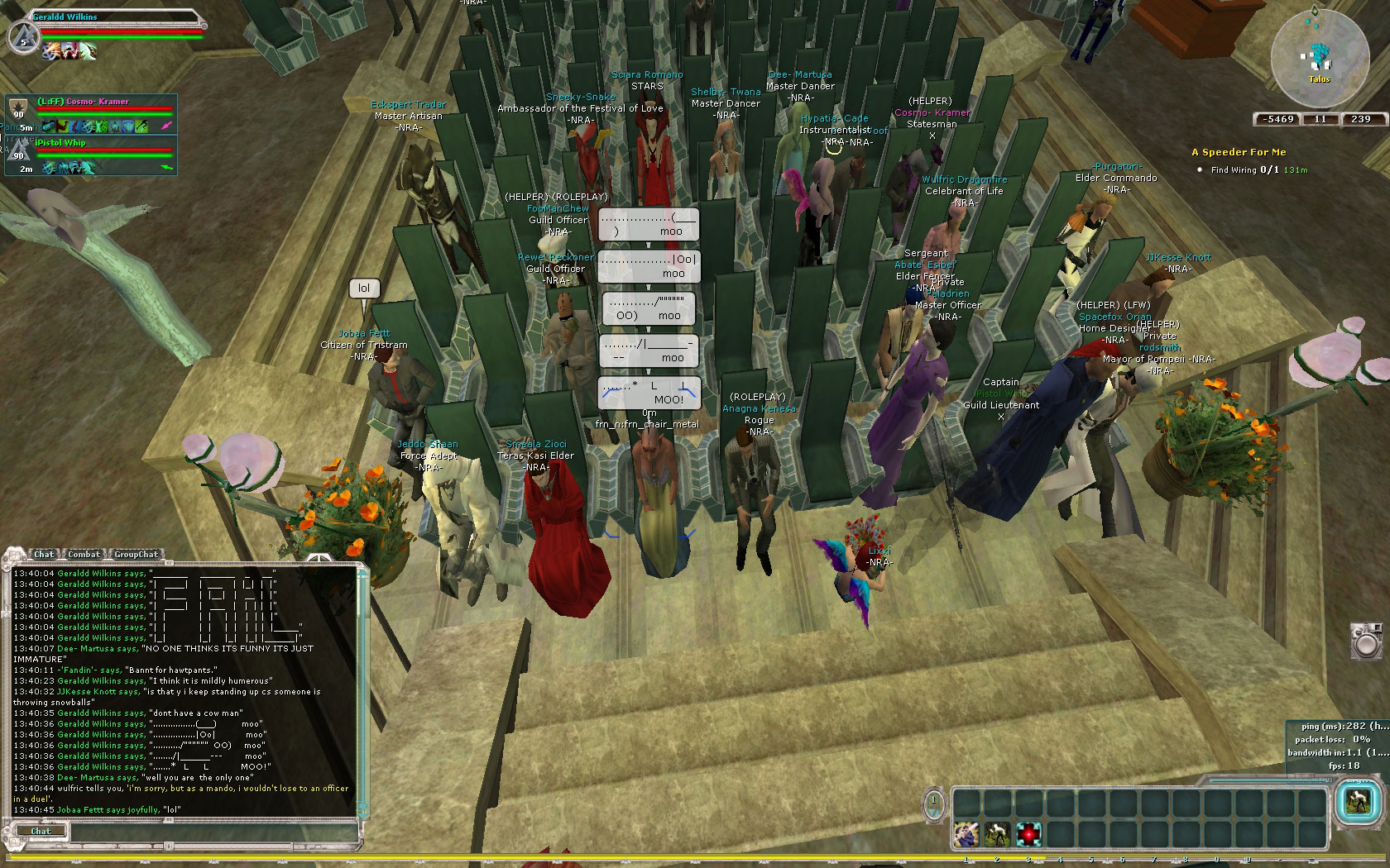 Attending a wedding on Bria as a cross server dignitary. I was their most popular guest.